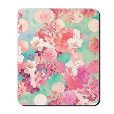 Romantic Pink Retro Floral Pattern Teal  Mousepad