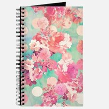 Romantic Pink Retro Floral Pattern Teal Po Journal