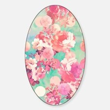 Romantic Pink Retro Floral Pattern  Decal