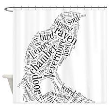 Raven Word Cloud Shower Curtain