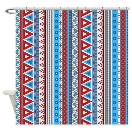 Mixed border blue red shower curtain by impressivemoments