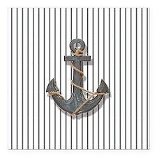 """modern anchor nautical n Square Car Magnet 3"""" x 3"""""""