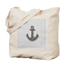 modern anchor nautical navy stripes patte Tote Bag