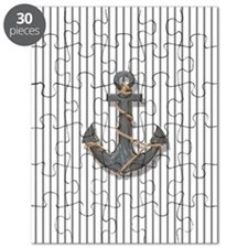 modern anchor nautical navy stripes pattern Puzzle