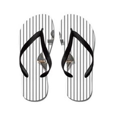 modern anchor nautical navy stripes pat Flip Flops