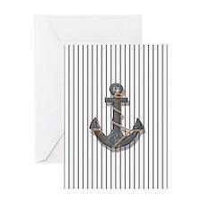 modern anchor nautical navy stripes  Greeting Card