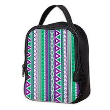 mixed border purple green Neoprene Lunch Bag