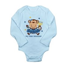 Monkey Girl 1st Hanukkah Long Sleeve Infant Bodysu