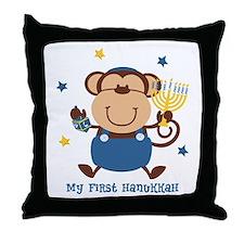 Monkey Boy 1st Hanukkah Throw Pillow