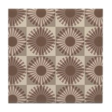 Autumn brown mod retro style pattern Tile Coaster