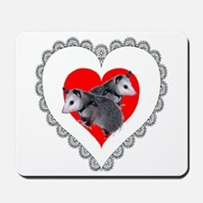 Possum Valentines Day Heart Mousepad