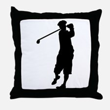 Golfer Silhouette Throw Pillow