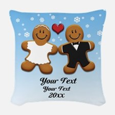 Personalize Gingerbread Bride and Groom Woven Thro