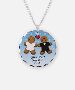 Personalize Gingerbread Bride and Groom Necklace