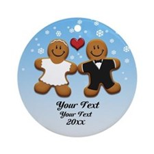 Personalize Gingerbread Bride and Groom Ornament (