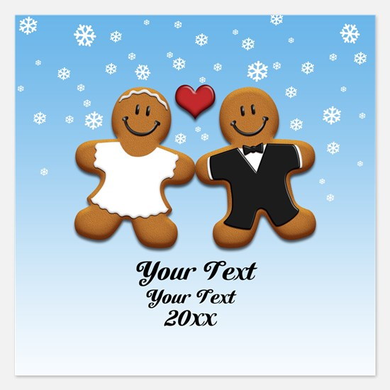 Personalize Gingerbread Bride and Groom 5.25 x 5.2