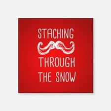 "Staching Through the Snow Square Sticker 3"" x 3"""