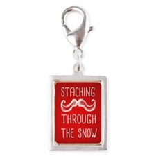 Staching Through the Snow Silver Portrait Charm