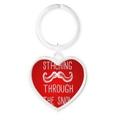 Staching Through the Snow Heart Keychain