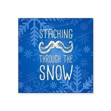 """Staching Through the Snow Square Sticker 3"""" x 3"""""""