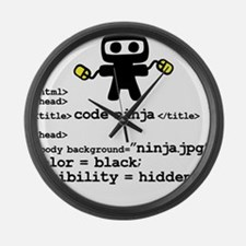 I code like a ninja Large Wall Clock
