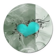 Heart and Love Round Car Magnet