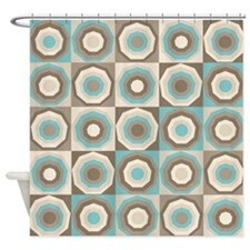 Retro style brown and aqua hexagon pattern Shower