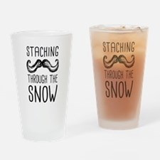 Staching Through the Snow Drinking Glass