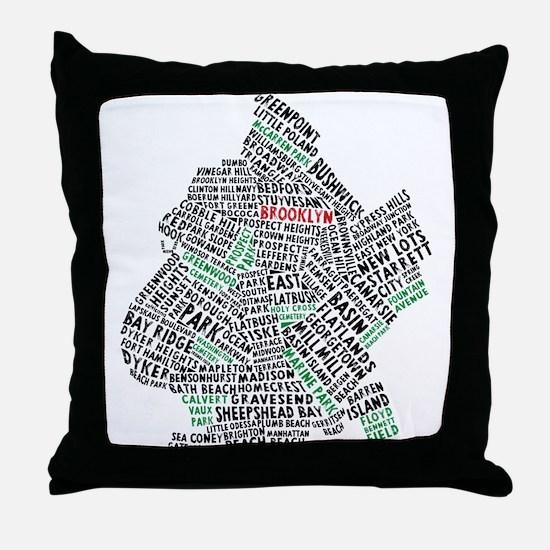 Brooklyn NYC Typography Art Throw Pillow