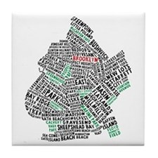 Brooklyn NYC Typography Art Tile Coaster