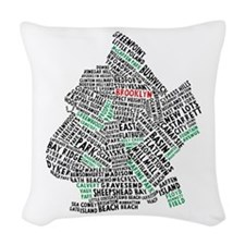 Brooklyn NYC Typography Art Woven Throw Pillow