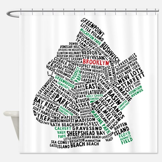 Brooklyn NYC Typography Art Shower Curtain