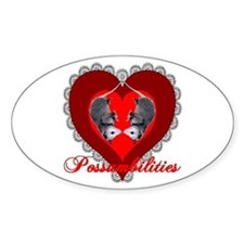 Possumbilities Valentines Day Oval Decal