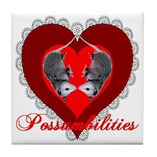Possumbilities Valentines Day Tile Coaster