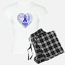 Colon Cancer Heart Words Pajamas