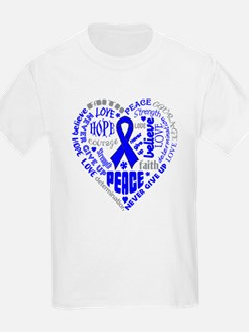 Colon Cancer Heart Words T-Shirt