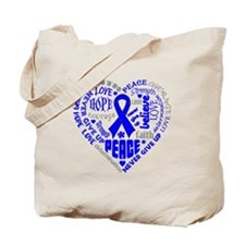 Colon Cancer Heart Words Tote Bag