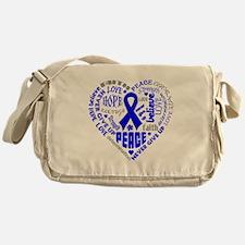 Colon Cancer Heart Words Messenger Bag