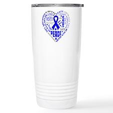 Colon Cancer Heart Words Travel Mug