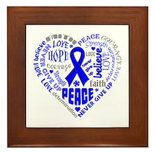 Colon Cancer Heart Words Framed Tile