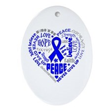 Colon Cancer Heart Words Ornament (Oval)