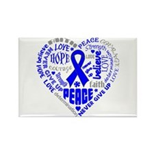 Colon Cancer Heart Words Rectangle Magnet
