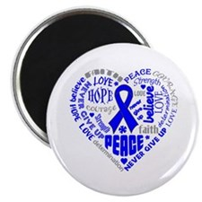 "Colon Cancer Heart Words 2.25"" Magnet (100 pack)"