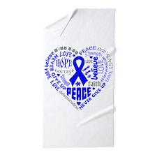 Colon Cancer Heart Words Beach Towel
