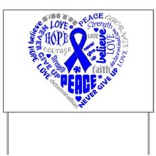 Colon Cancer Heart Words Yard Sign
