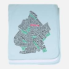 Brooklyn NYC Typography Art baby blanket