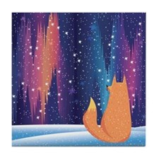 Northern Lights Fox Tile Coaster