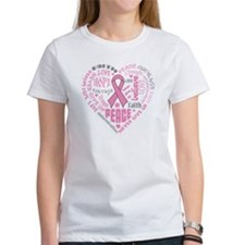 Breast Cancer Heart Words Tee