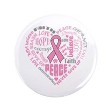"Breast Cancer Heart Words 3.5"" Button"