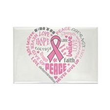 Breast Cancer Heart Words Rectangle Magnet
